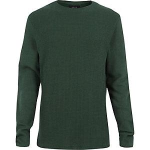 Green waffle knit sweater