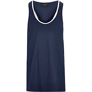 Navy muscle back tank