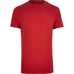 Red muscle fit T-shirt