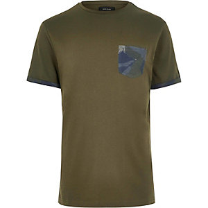 Dark green printed pocket t-shirt