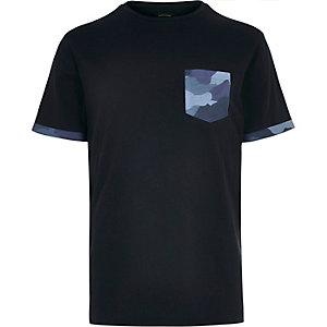Navy printed pocket t-shirt
