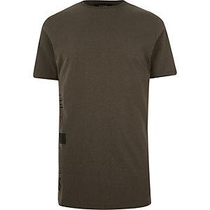Dark green graphic print longline t-shirt