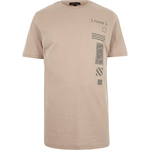 Light brown graphic print t-shirt