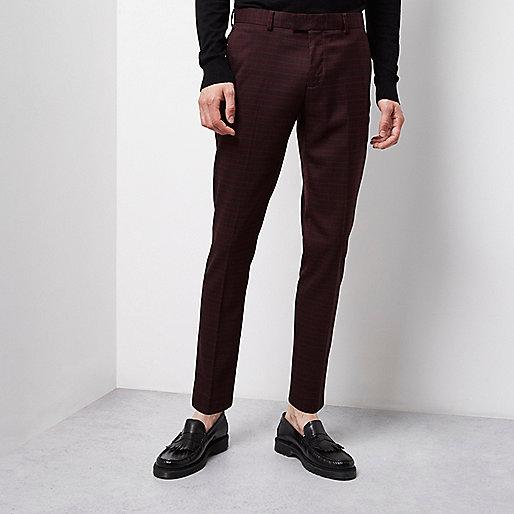 Pantalon habillé coupe skinny écossais rouge