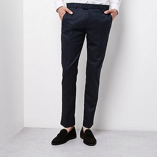 Green tartan skinny smart trousers