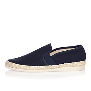 Navy espadrille loafers