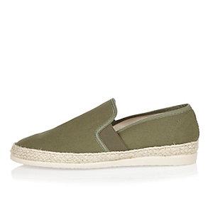 Dark green espadrille loafers