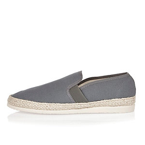 Grey espadrille loafers