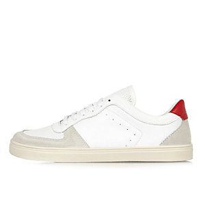 White and red perforated trainers