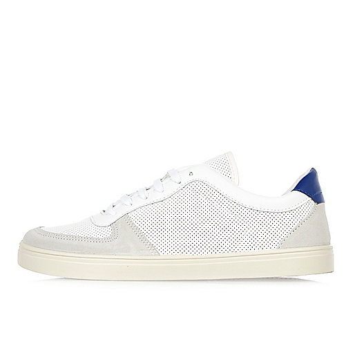 White and blue perforated trainers