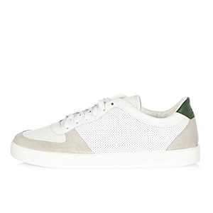 White and green perforated sneakers
