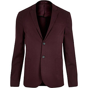 Red washed cotton skinny blazer