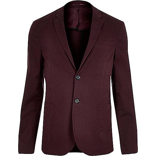Red washed cotton skinny blazer