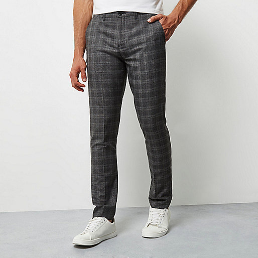 Grey check smart skinny pants