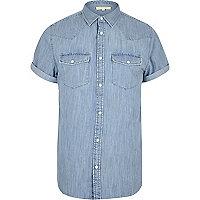Bleached blue Western denim shirt