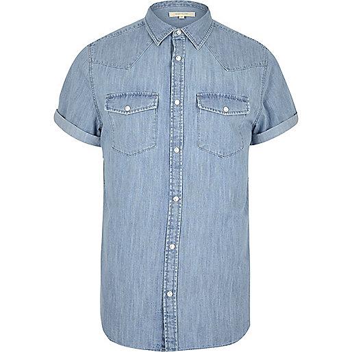 Bleached blue casual western denim shirt