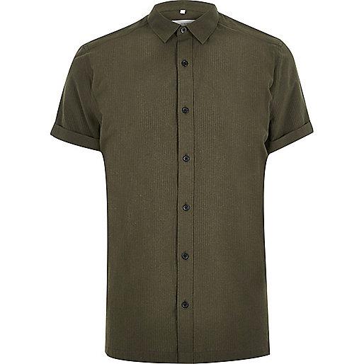 Green seersucker short sleeve shirt