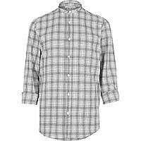 Grey textured check grandad shirt