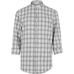 Grey textured checked grandad shirt