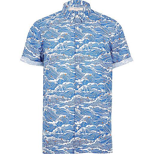Blue oriental wave print shirt