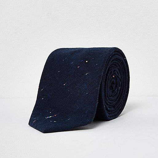 Navy print smart tie