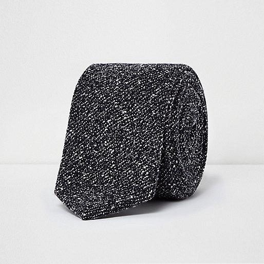 Grey textured print tie