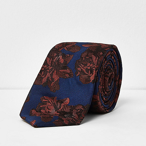 Rust rose print smart tie