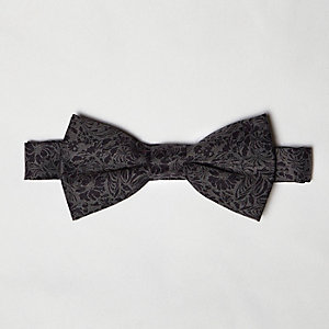 Grey floral print bow tie
