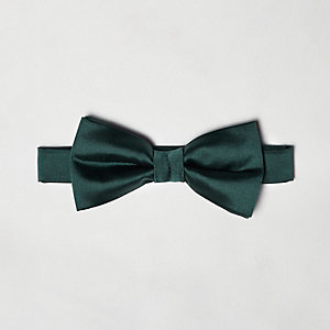 Green silky bow tie