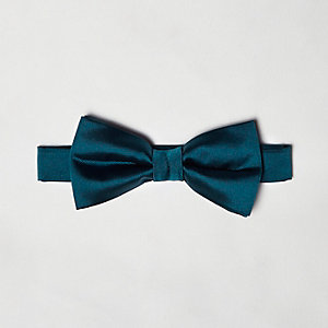 Teal silky bow tie