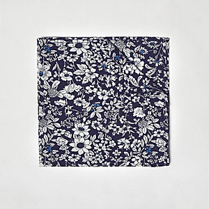 Blue floral print pocket square