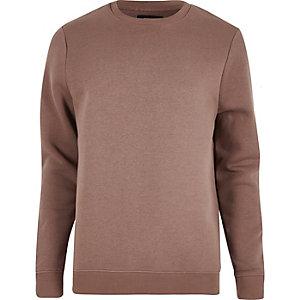 Pullover in Dunkelrosa mit Rundhalsausschnitt