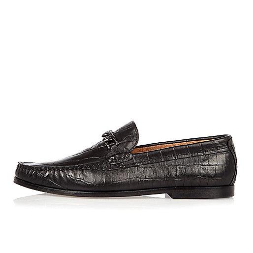 Black crocodile leather loafers