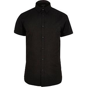 Black smart slim fit short sleeve shirt
