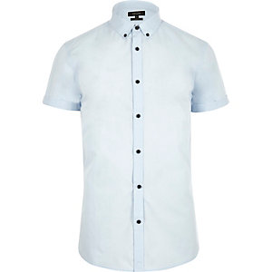 Blue smart slim fit short sleeve shirt