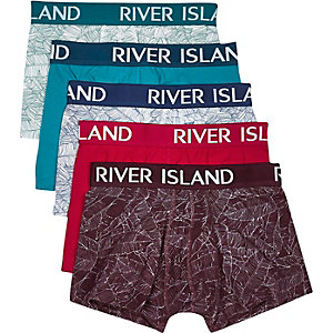 White leaf print trunks multipack