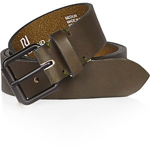 Bottle green leather belt