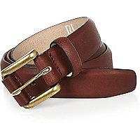 Dark red leather belt