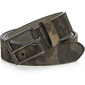 Dark green camouflage print belt