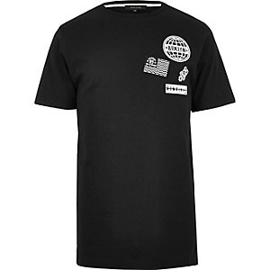 Black longline badge T-shirt