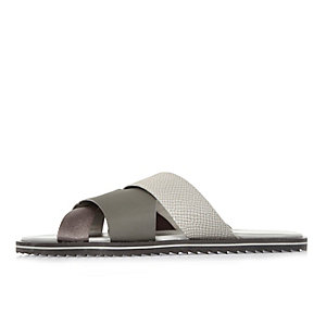 Grey cross strap sandals