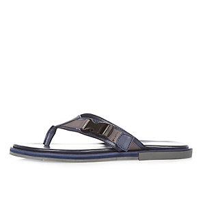 Navy buckle flip flop sandals