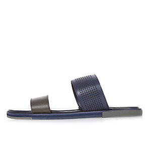 Navy double strap sandals