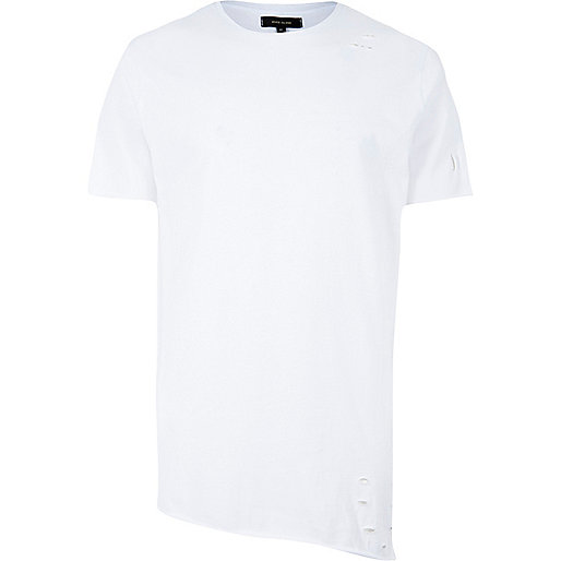 White asymmetric longline holey T-shirt