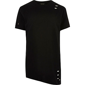 Black asymmetric holey T-shirt