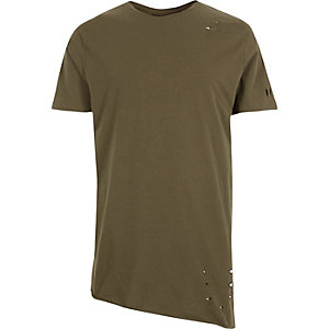 Dark green asymmetric longline holey T-shirt