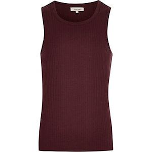 Dark red ribbed vest