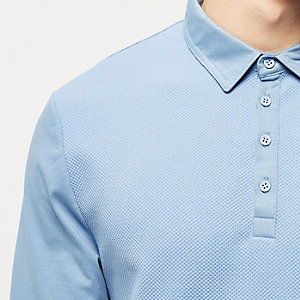 Blue textured long sleeve polo shirt