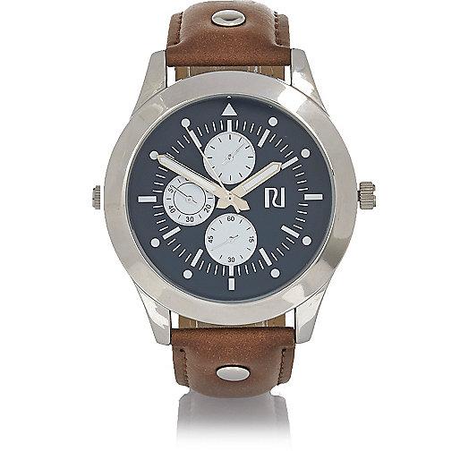 Light brown studded watch