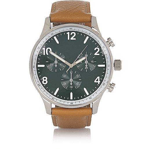 Light brown leather look watch